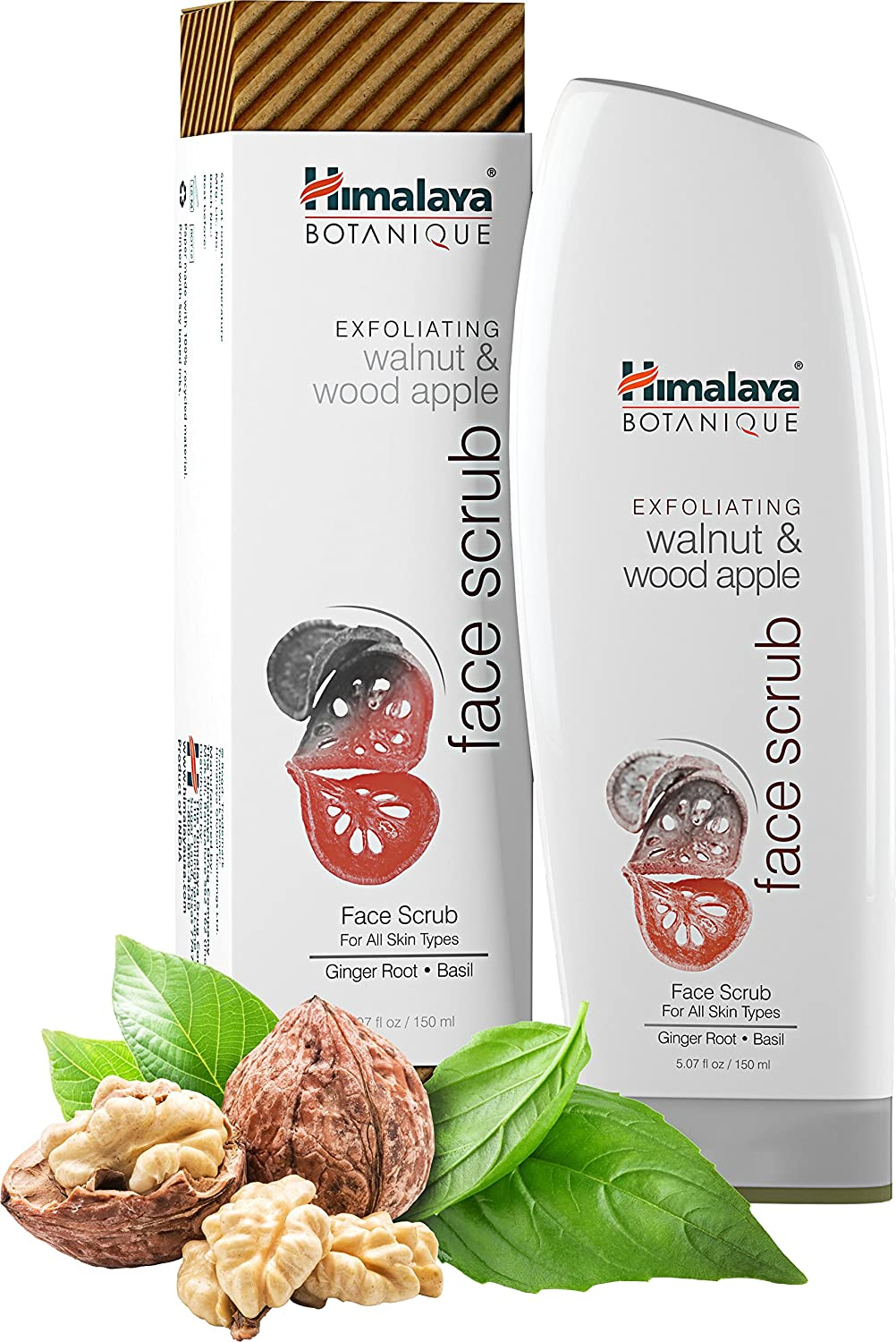 Himalaya Botanique Walnut & Wood Apple Exfoliating Natural Face Scrub, 5.07oz/150ml with Ginger Root and Basil for All Skin 200141