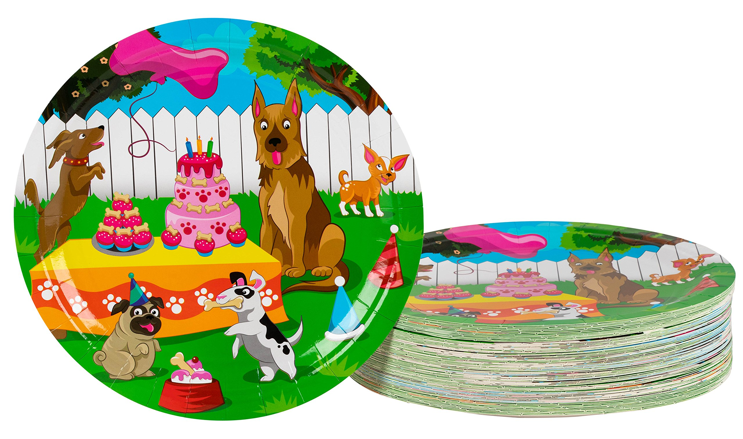 Disposable Plates - 80-Count Paper Plates, Puppy Party Supplies for Appetizer, Lunch, Dinner, and Dessert, Kids Birthdays, 9 x 9 inches by Blue Panda (Image #1)