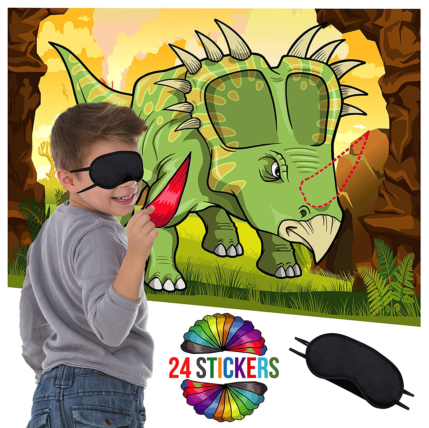 Dinosaur Party Supplies Birthday Decorations Fun Activities Birthday Games for Kids Party Pin The Horn On The Dinosaur Game Dino Poster 24 Sticker Horns Blindfold Mask Honey Duck