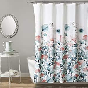 "Lush Decor, Blue and Coral Zuri Flora Shower Curtain-Fabric Watercolor Floral Print Design, x 72, 72"" x 72"""
