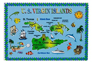 Amazon.com: US Virgin Islands Map Metal Souvenir Magnet: Kitchen ...