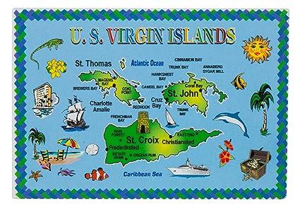 Map Of Us Islands.Amazon Com Us Virgin Islands Map Metal Souvenir Magnet Kitchen