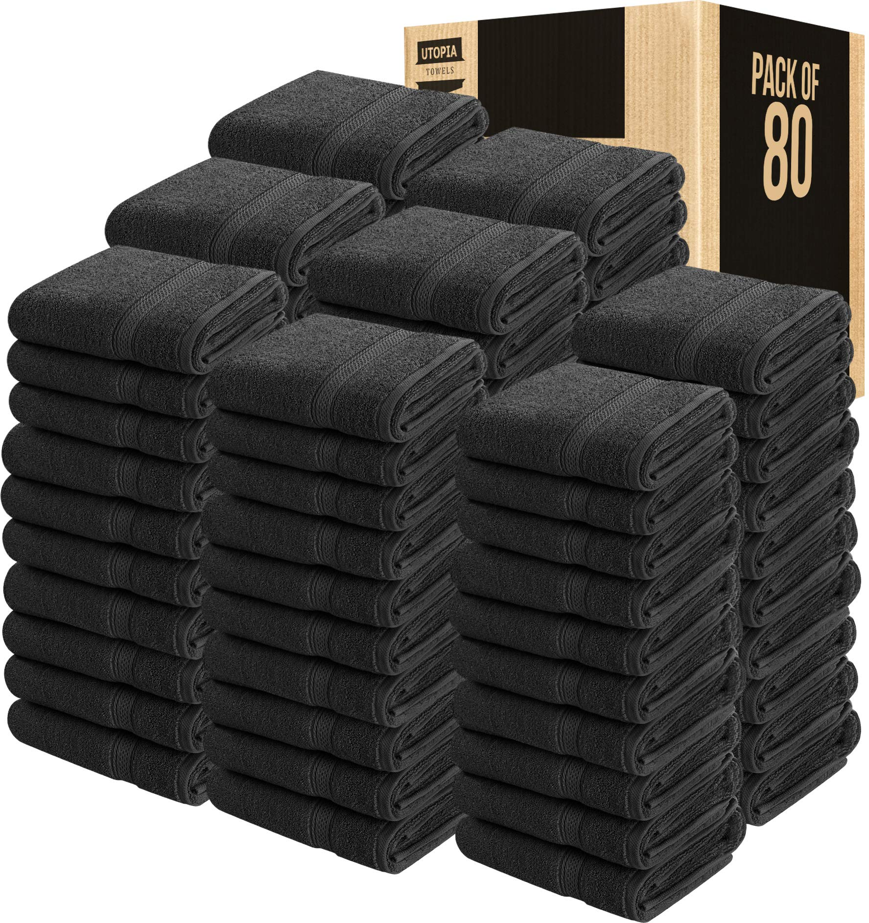 Utopia Towels 80 Pack 600 GSM Cotton Large Hand Towels Bulk (16 x 28 Inches), Dark Grey