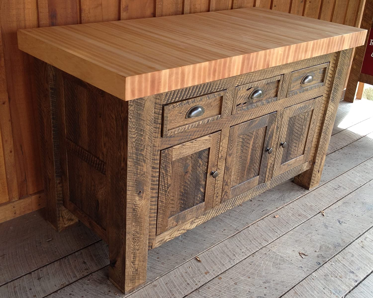 Oak/Hard Maple Functional Butcher Block Island