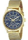 Akribos XXIV Men's AK625BU Chronograph Quartz Movement Watch with Blue Dial and Yellow Gold Stainless Steel Mesh Bracelet