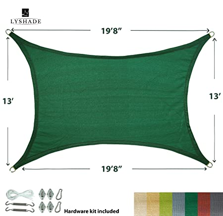 LyShade 19 8 x 13 Rectangle Sun Shade Sail Canopy with Stainless Steel Hardware Kit Dark Green – UV Block for Patio and Outdoor