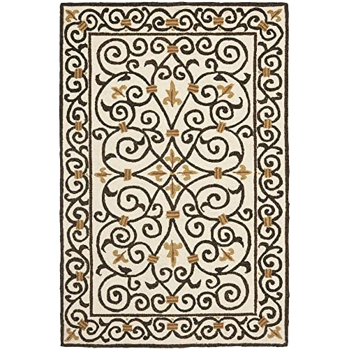 Safavieh Chelsea Collection HK11H Hand-Hooked Ivory and Dark Brown Premium Wool Area Rug 6 x 9