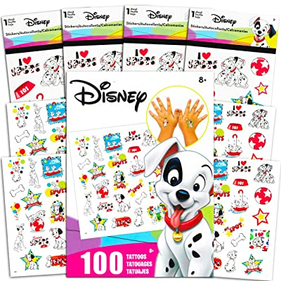 Disney 101 Dalmatians Sticker and Tattoos Party Favors Super Set ~ Bundle Includes Over 200 101 Dalmatians Temporary Tattoos and Stickers (101 Dalmatians Party Supplies): Toys & Games