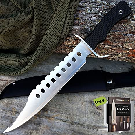 Amazon.com: SURVIVAL STEEL - Cuchillo de caza táctico de 17 ...