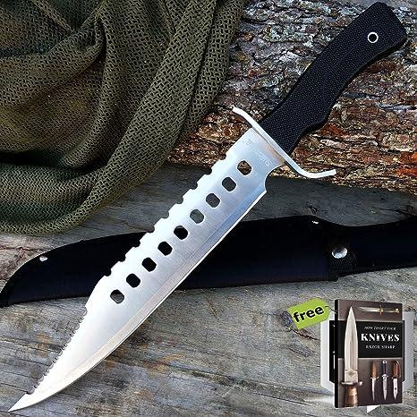 Amazon.com: SURVIVAL STEEL - Cuchillo de caza táctico de 17 ...