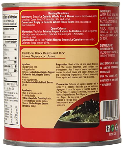 Amazon.com : La Costena Whole Black Beans, 29 Ounce (Pack of 12 ...