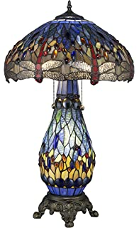 Warehouse Of Tiffanyu0027s T18275TGRB Dragonfly Tiffany Style 26 Inch Table Lamp  With Lighted Base