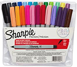 Sharpie 75847 Marcadores permanentes de punta ultra fina, colores variados, paquete de 24