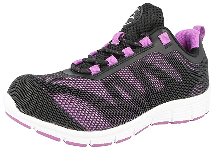 2058e63254a LADIES GROUNDWORK STEEL TOE CAP SAFTEY ULTRA LIGHT WEIGHT LACE WORK TRAINER  SHOES