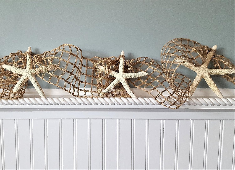 Beach Decor Starfish Garland - Nautical Decor White Starfish Garland, Nautical Netting 10 FEET
