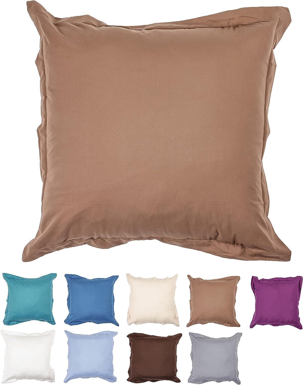 26 X 26 Ultra Soft Microfiber Euro Pillow Sham With Zipper Closure 1 Piece Mocha Home Kitchen