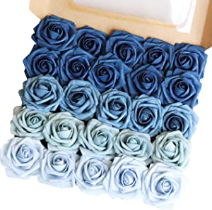 Breeze Talk Artificial Flowers Combo Shades of Navy Blue Wedding Decorations Flowers for DIY Bouquets Centerpieces Floral Arrangements (Shades of Navy Blue)