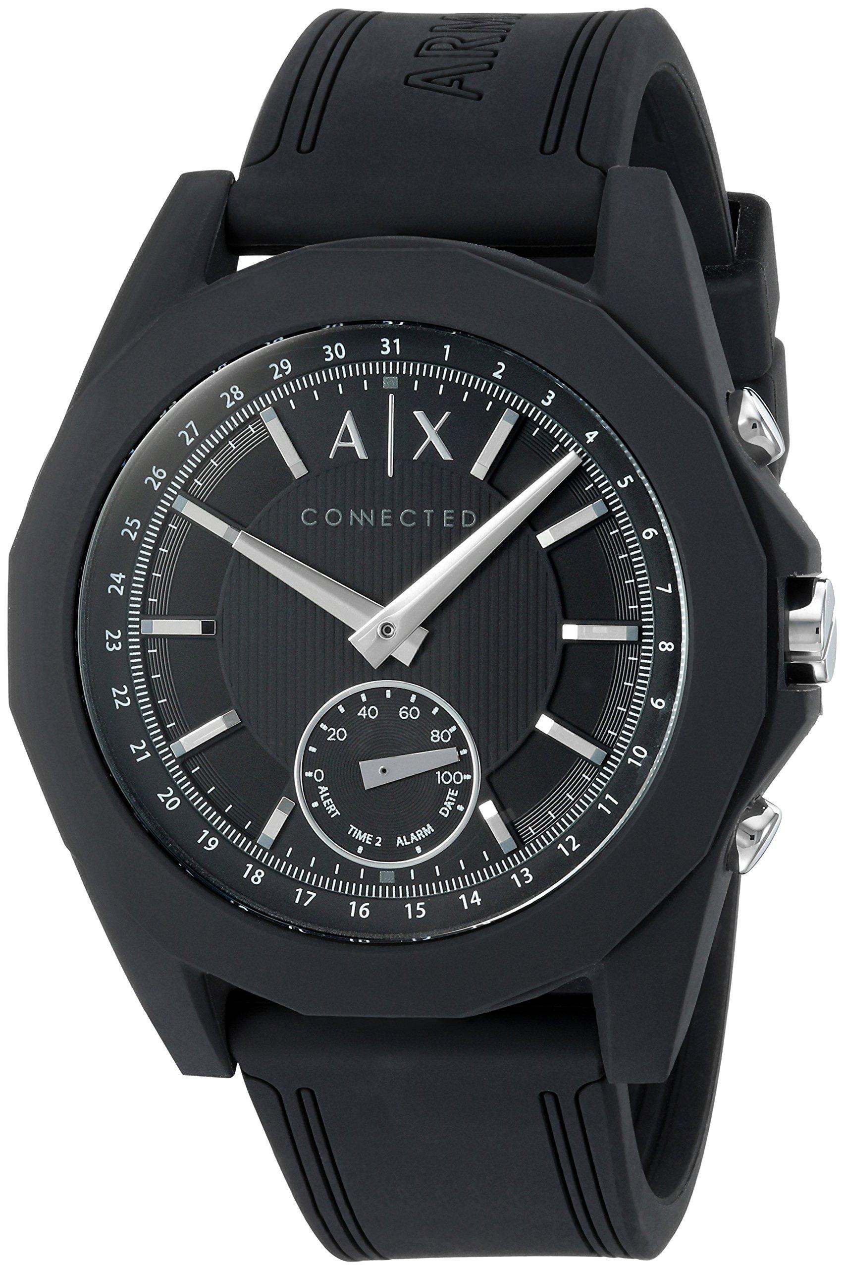 Armani Exchange Men's 'Drexler' Quartz Resin and Silicone Smart Watch, Color:Black (Model: AXT1001)