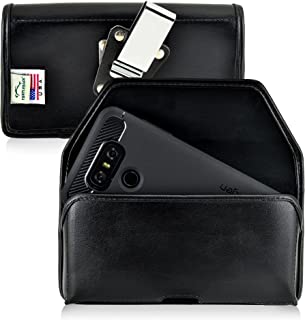product image for Turtleback Belt Case Made for LG G6 Black Holster Leather Pouch with Heavy Duty Rotating Ratcheting Belt Clip Horizontal Made in USA