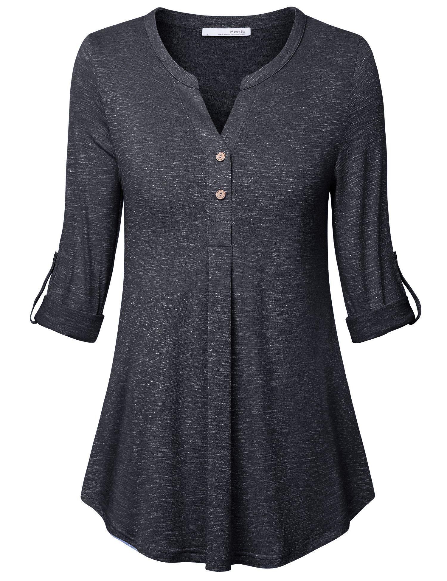 Messic Womens Tunic Tops, Joniors Casual 3/4 Sleeve Shirt Henley V Neck Clothes for Women Carbon Black,Medium