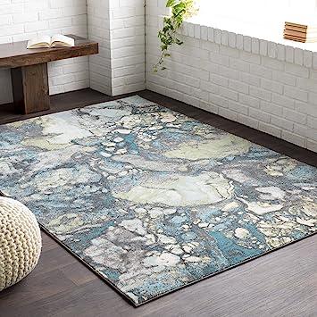 Amazon Com Kerry Gray Blue And Green Modern Area Rug 5 2 X 7 6 Furniture Decor