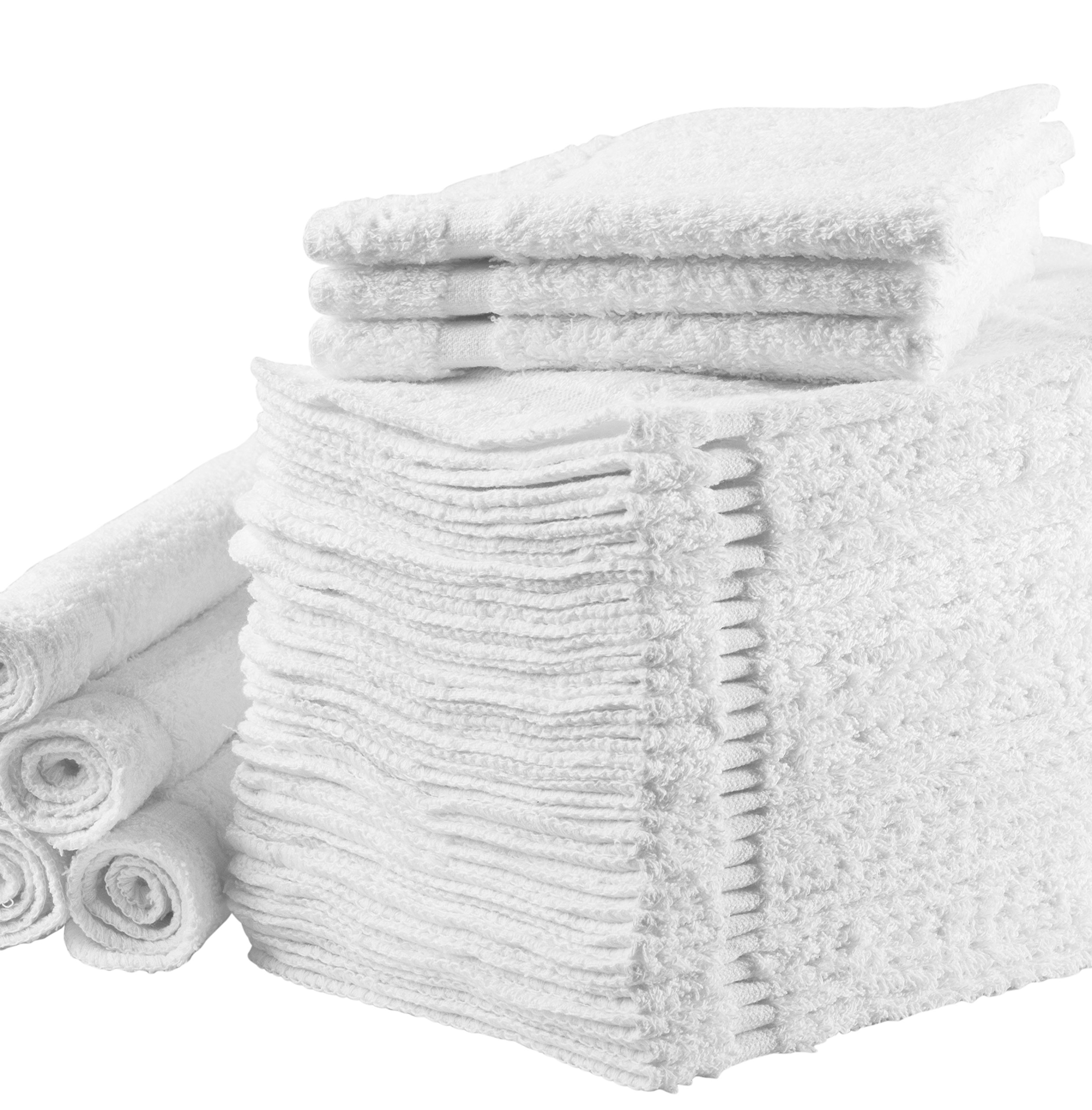 "Alurri Washcloths Towel Set (White, Bulk Pack of 24), Kitchen & Dish Cotton Cloth, Bath and Face Cleansing, Baby Washcloth, Multi-Purpose Soft Cleaning Rags - Hand, Gym, Spa, Sports 12""X12"" Towels by"