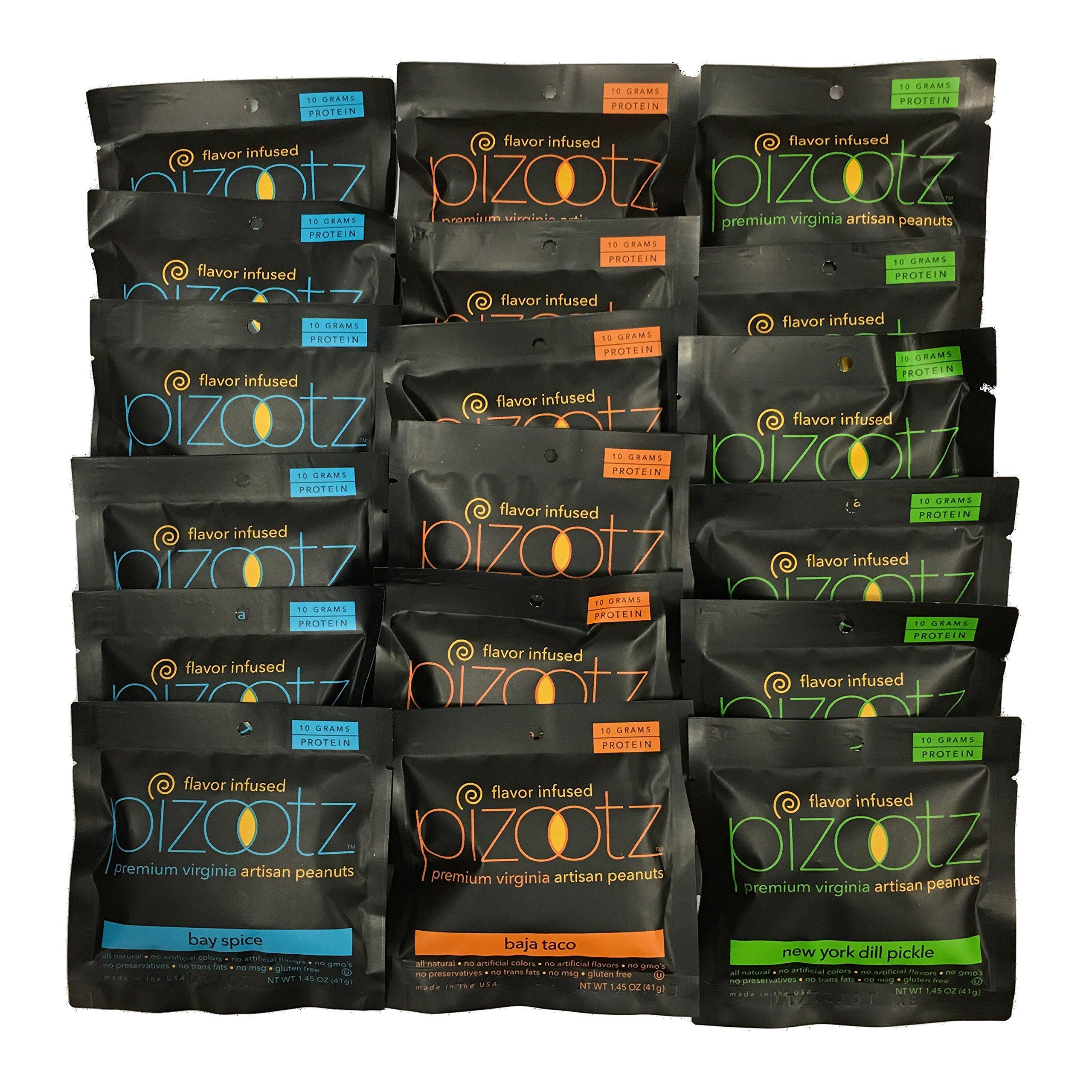 Pizootz Wow Variety Pack- 6 each 1.45 oz New York Dill, Baja Taco, Bay Spice-Flavor Infused Peanuts-Premium Virginia Gourmet Artisan Vegan Peanuts - (18) 1.45 oz bags