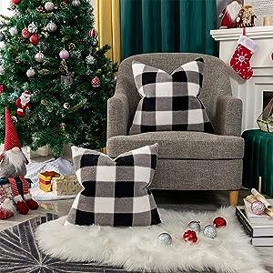 "Vilaa Buffalo Check Soft Throw Pillow Covers Faux Fur Decorative Plaid Cushion Pillow Case for Farmhouse Sofa, Pack of 2 (18"" x 18"", Black and White)"
