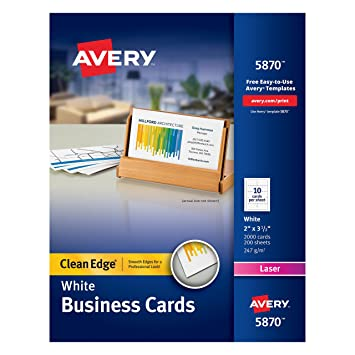 Amazon.com : Avery Clean Edge Laser Business Cards, White, 2 x 3.5 ...