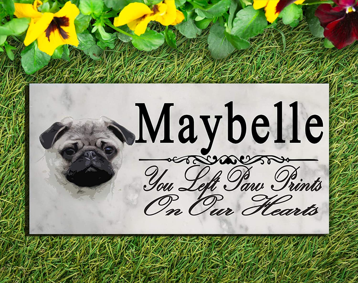Broad Bay Pug Dog Memorial Stone Personalized Pug Sign Garden Marker Outdoor Grave Headstone Plaque