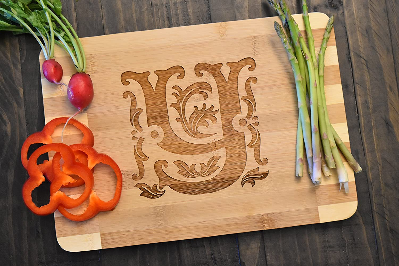 V Personalized//Custom Engraved Monogram Bamboo Wood Cutting Board 13.5x9.5x0.66