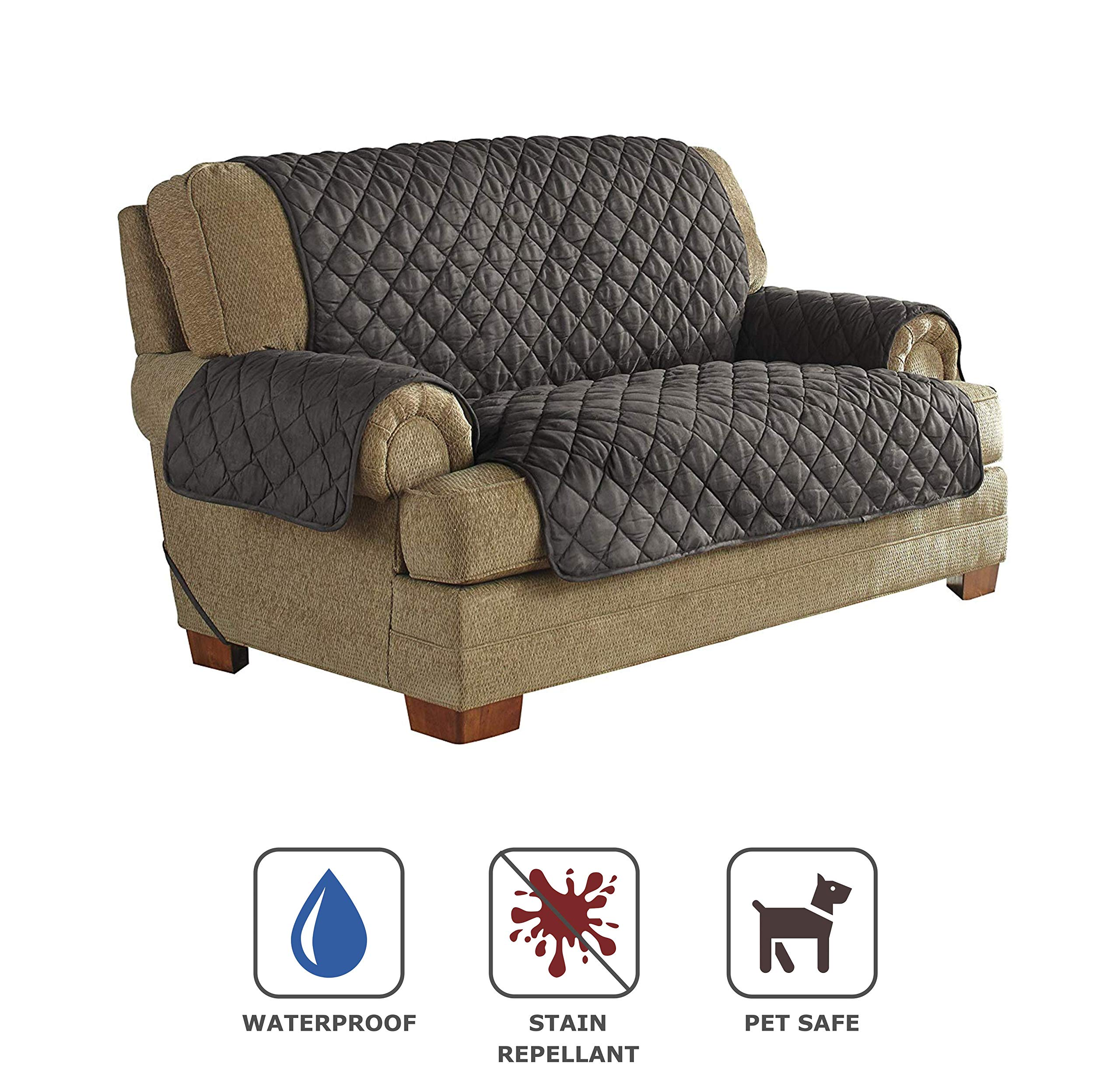 Serta | Quilted Ultra Suede Waterproof Furniture Protector, Pet Safe & Stain Resistant (Loveseat, Graphite) by Perfect Fit