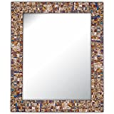 Multi-Colored & Gold, Luxe Mosaic Glass Framed Wall Mirror, Decorative Embossed Mosaic Rectangular Vanity Mirror / Accent Mirror (Large)