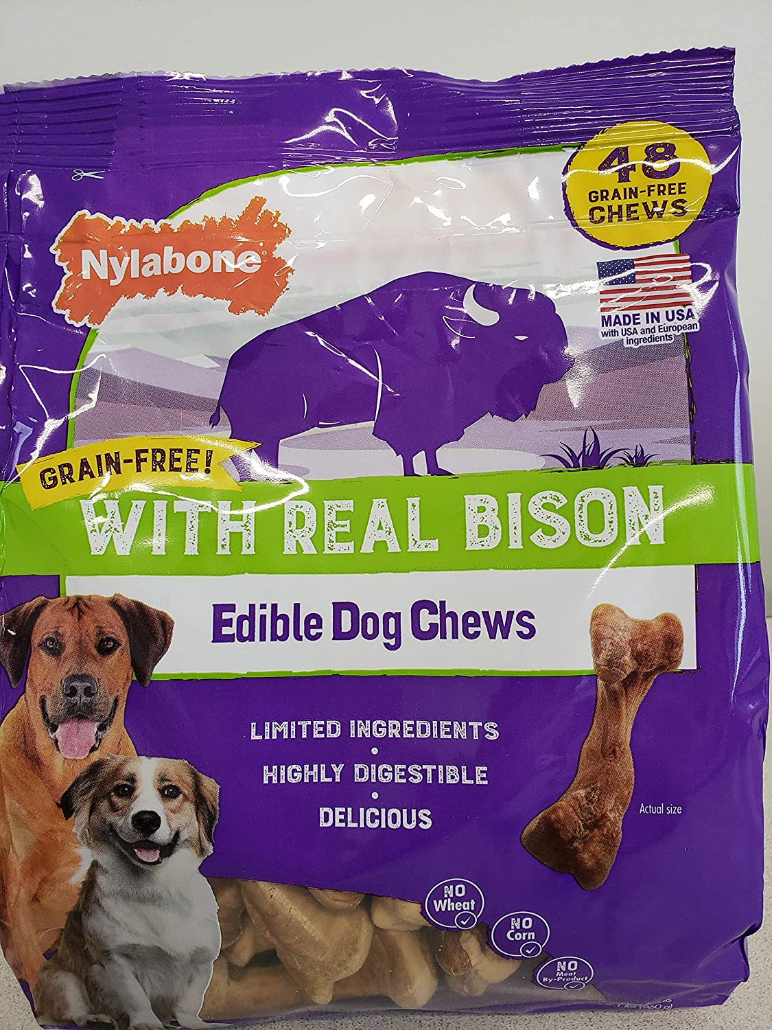 Nylabone Dog Chew Grain Free Edible with Real Bison Highly Digestible No Corn No Meat by- Product (40 Chew)