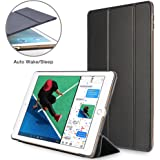 New iPad 2017 Case 9.7 inch NEESI Premium Synthetic PU Case Slim Folding Stand Cover with Auto Wake/Sleep Transparent PC Back for iPad 9.7 2017 Black