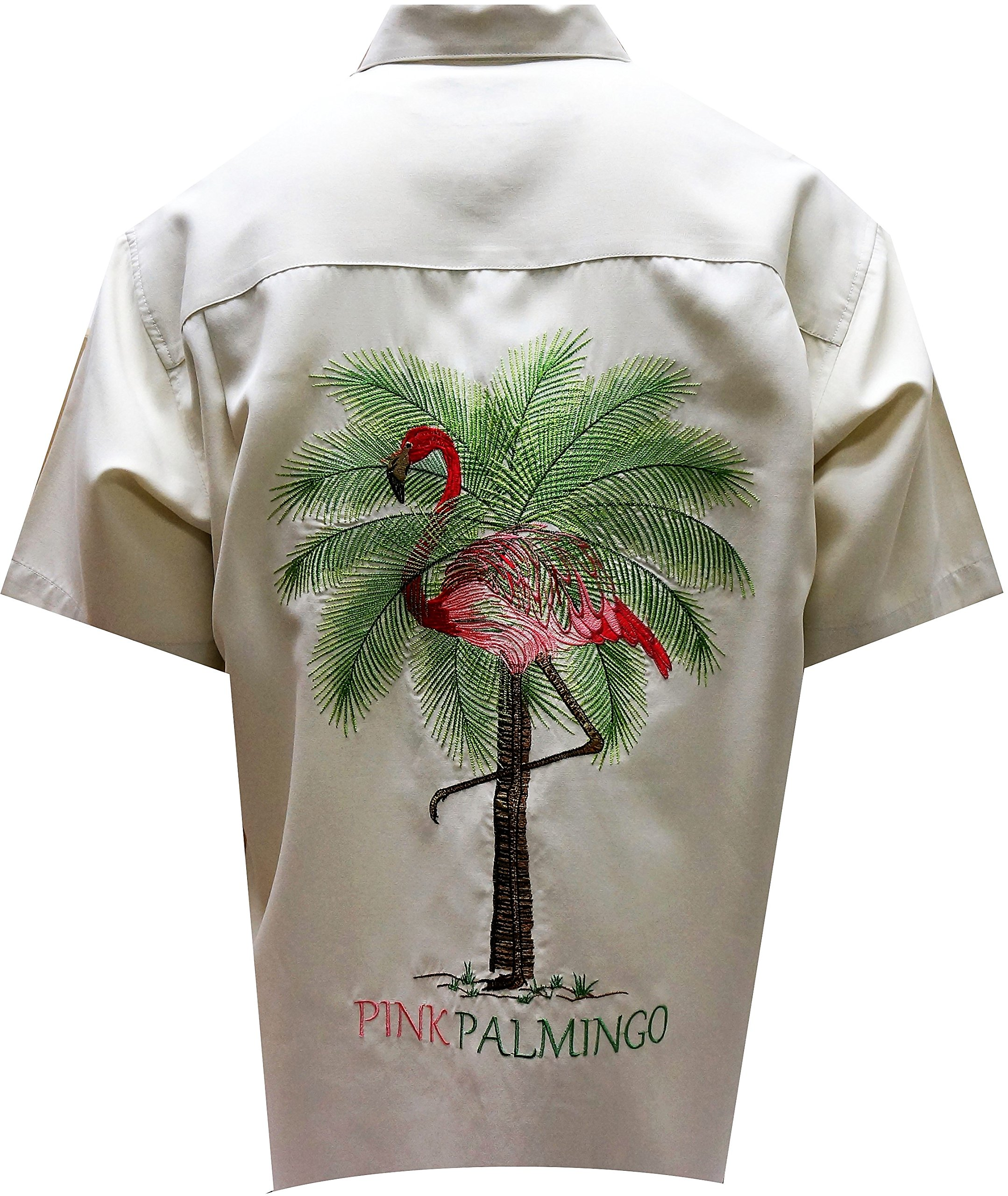 Bamboo Cay - Men's Pink Palmingo, Embroidered Tropical Style Shirt (X-Large, Cream)