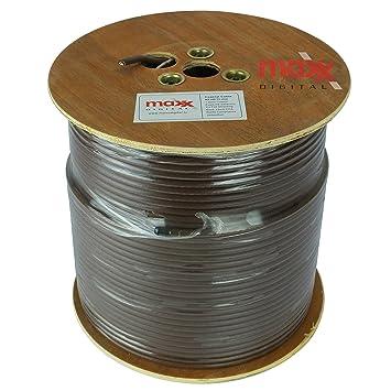 Maxx Digital cobre puro RG6 Cable satélite Coaxial MX100 250 m metros. (marrón)