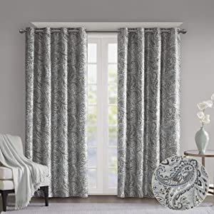 SUNSMART Jenelle Paisley Total Blackout Window Curtains for Bedroom, Living Room, Kitchen, Faux Silk with Traditional Grommet, Energy Savings Curtain Panels, 1-Panel Pack, 50x63, Grey