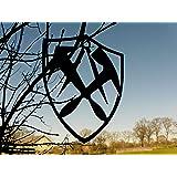 DACHDECKER in WAPPENFORM Innungsschild Zunftzeichen H=40cm-90cm aus STAHL Handwerk Schild Bretter Dachpfannen (40cm)