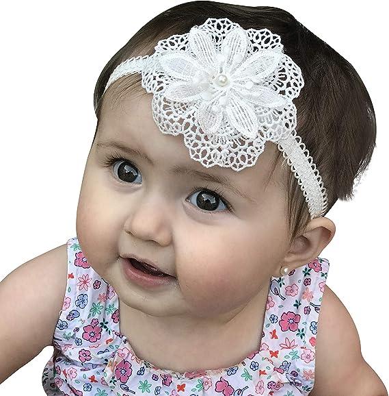 Toddler Baby Girls Faux Flower Pearl Baptism Headband Headdress Photo Props NEW
