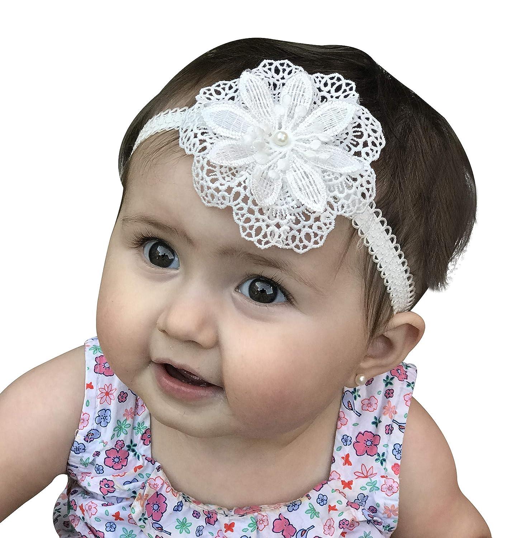 White Headband White Flower Girl Headband Pearl Headband White Baptism Headband Christening Headband Baptism Headband Beaded Headband