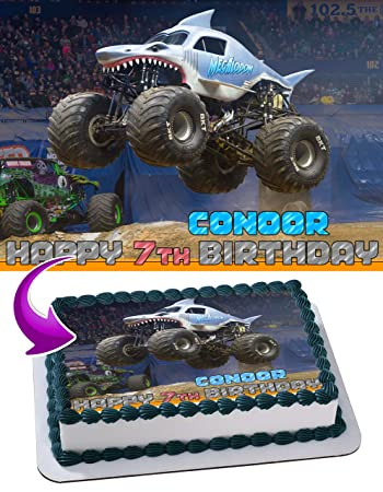 Megalodon Monster Jam Edible Image Cake Topper Personalized Birthday