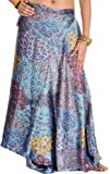 Exotic India Wrap-Around Long Skirt with Printed Flowers