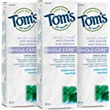 Tom's of Maine Whole Care Fluoride Natural Toothpaste, Peppermint, 85 mL (3 Pack)
