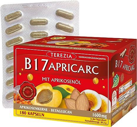 Image of B17 Apricarc con Aceite de Albaricoque, Seta de Ostra, Reishi un Espino amarillo, 180 Cápsulas, 1600 mg