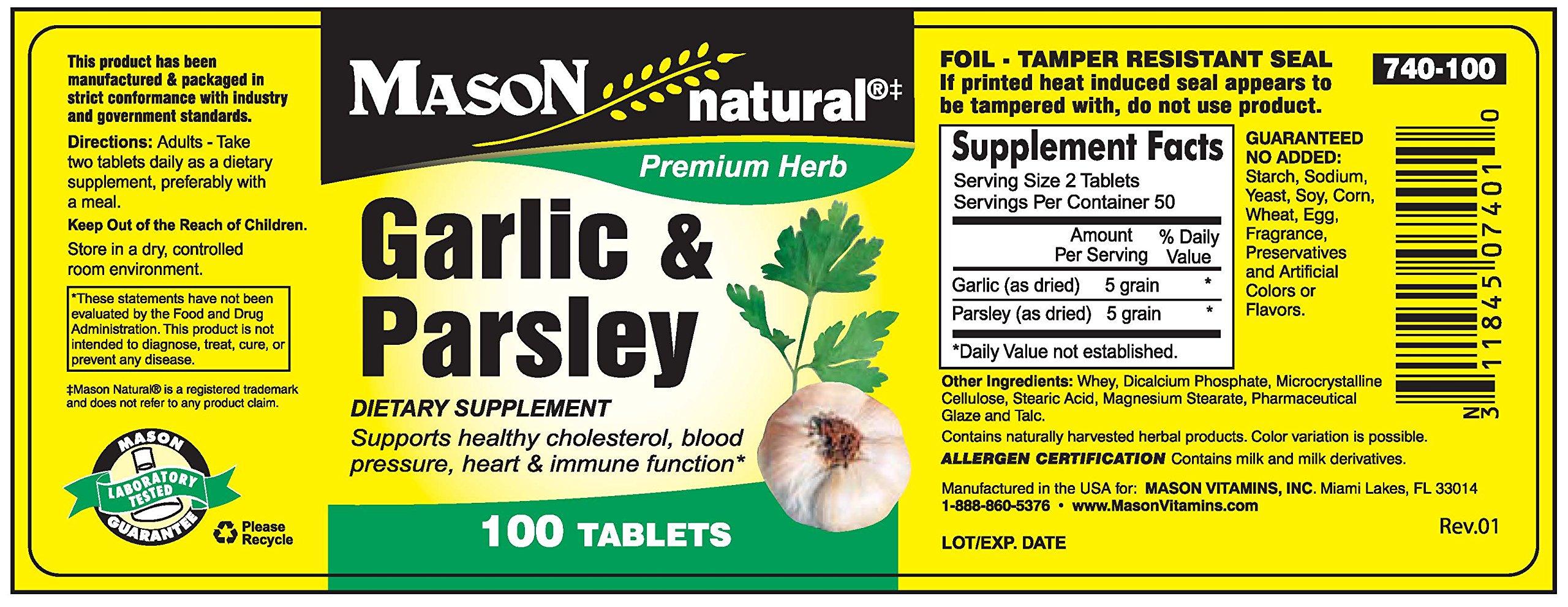Mason Vitamins Garlic & Parsley Tablets, 60 Count
