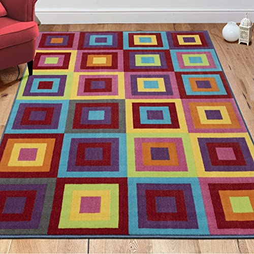 Ottomanson Rainbow Collection Non-Slip Kids Rug Modern Boxes Pattern Design Area Rug, 8 2 X 9 10 , Multicolor