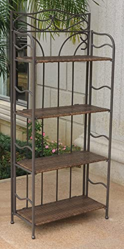 International Caravan Wicker Resin 4-Tier Baker Rack, Antique Brown