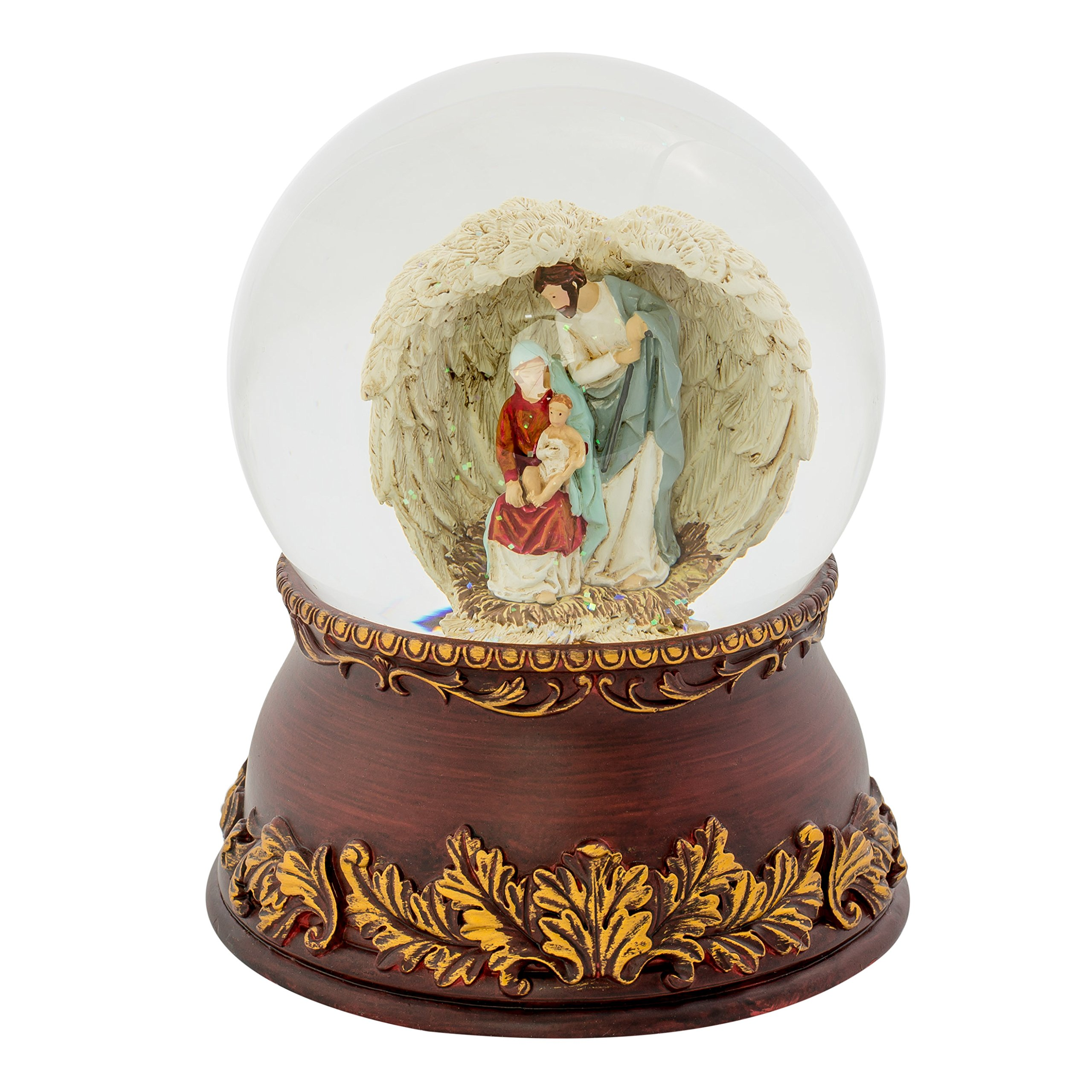 Holy Family Angel Wings Filigree 120MM Musical Glitterdome Water Globe Plays O Come All Ye Faithful by Roman (Image #3)