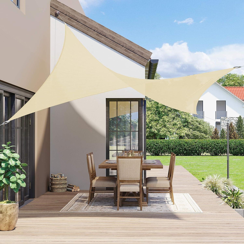 SONGMICS 2 x 3 m Vela Solar, Resistente al Agua Más que 1000 mm, 93% Protección UV Vela Solar en Poliéster Resistente a Desgarro y Intemperie, para ...